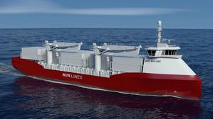 The first pilot project, CargoFerry Plug-in Hybrid, aims to develop a cost-effective and profitable short-sea container ship that is powered by a plug-in hybrid LNG/battery propulsion system. (Image: DNV GL)