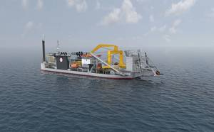 Rendering of the Jan De Nul Group newbuilding JDN8069 that, upon completion, will become the largest cutter-suction dredger in the world (Image: Jan De Nul Group)