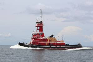 M/V Frederick E. Bouchard, a 6,000hp Twin Screw ATB tug, during sea trials (Photo: VT Halter Marine)