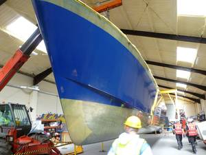 The first of the hulls of the PLA's new survey vessel is removed from the mould at CTruk's Essex yard (Photo: CTruk)