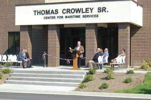 Crowley's current Chairman and CEO Tom Crowley Jr. – the son of Crowley Sr. – addresses the crowd at the Seafarers International Union dedication ceremony that named a new building in his father's memory. (Photo: Crowley)