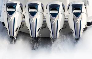 Quadruple installation of the Seven Marine 627hp outboard (Photo: Volvo Penta)