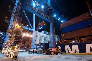 The CMA CGM Auckland works cargo at the Port of New Orleans Napoleon Avenue Container Terminal recently. (Photo: Port of New Orleans)