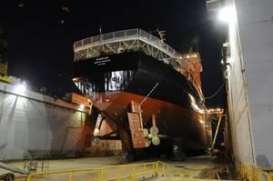 Dredge Wheeler in World Marine's drydock (Photo: World Marine of Alabama)