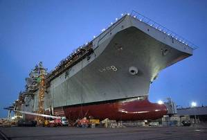 A bow view of the Pre Commissioning Unit (PCU) Makin Island (LHD 8), which is currently under construction in Pascagoula. Makin Island, the Navy's first amphibious assault ship equipped with an all electric auxiliary systems and a hybrid gas turbine - electric propulsion system, is scheduled for christening August 19, 2006. Photo by Mr. Steve Blount courtesy Northrop Grumman Ship