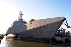 LCS USS Independence (LCS 2) arrives at Naval Station Norfolk. Independence conducted tests of the ships capabilities and extensive training with the SeaRAM anti-ship missile defense weapon system during the transit from Austal USA shipyards in Mobile, Ala. to homeport in Norfolk. Independence will depart Naval Station Norfolk April 17 to participate in Fleet Week in Port Everglades, Fla. (U.S. Navy photo)