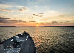 The Arleigh Burke-class guided-missile destroyer USS Donald Cook (DDG 75) transits the Dardanelles en route to the Black Sea. (U.S. Navy photo by Mass Communication Specialist Seaman Edward Guttierrez III/Released)