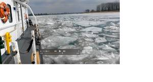 The crew of the Coast Guard Cutter Bristol Bay conducts ice-flushing operations in the St. Clair River, Thursday, March 26, 2015. Ice flushing operations help keep brash ice from forming and encourages the flow of ice down river preventing possible flood situations. U.S. Coast Guard video by USCGC Bristol Bay.