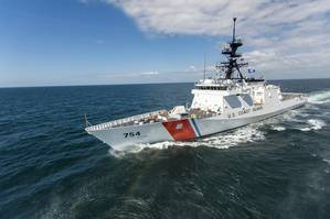 The fifth Ingalls-built U.S. Coast Guard National Security Cutter, James (WMSL 754), sailed the Gulf of Mexico last week for her successful builder's sea trials. (Photo by Lance Davis/HII)
