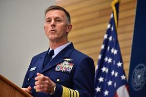 Coast Guard Commandant Adm. Paul Zukunft delivers the 2015 State of the Coast Guard Address. (U.S. Coast Guard photo by Petty Officer 2nd Class Patrick Kelley.)