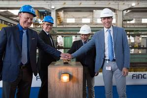 Pictured left to right are Windstar Cruises' Vice President of Expansion Projects John Gunner and Vice President of Fleet Operations Christopher Prelog, along with Fincantieri's Shipyard Director Salvatore Savarese and Vice President of Ship Repair and Conversions Andrew Toso, at the Windstar Star Plus Initiative steel-cutting ceremony at Fincantieri's yard in Palermo, Italy.  (Photo: Windstar Cruises / Mary Schimmelman)