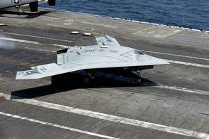 X-47B Aircraft on deck: Photo credit USN
