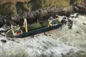 The 250-foot Tanzanian-flagged merchant ship Alta had been abandoned and adrift at sea for more than a year before running aground in Ireland earlier this week. (Photo: Irish Coast Guard)