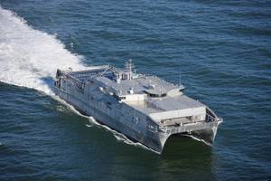 An austal-built USNS EPF at sea. CREDIT Austal
