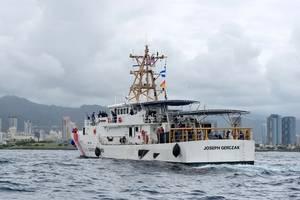 Coast Guard Cutter Joseph Gerczak arrives in Honolulu following a 42-day transit from Key West, Fla. (USCG photo by Sara Muir)
