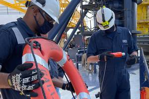 Coast Guard marine inspectors inspect the Seacor Eagle for readiness and approval to be used as an asset in the Seacor Power response. (Photo: Nicole J. Groll / U.S. Coast Guard)