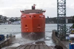 Edda Mistral was launched and named at the Gondan shipyard in Figueras, Spain (Photo: Gondan)