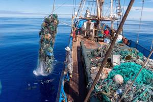 Fishing nets and debris being removed from the North Pacific Gyre by the crew of S/V KWAI. © Ocean Voyages Institute