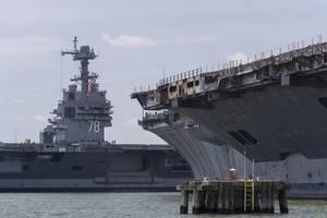 Gerald R. Ford (CVN 78) arrives at Newport News Shipbuilding (Photo: Huntington Ingalls Industries)