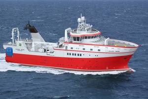 Graphical rendering of the new research vessel (picture courtesy Skipsteknisk)