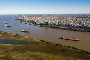 Illustration only - Aerial shot over Parana River in Front of Rosario City - Credit: Wirestock/AdobeStock