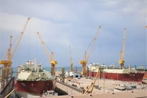 LNG Vessels at NKOM Shipyard. Photo: NKOM
