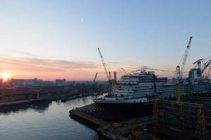 Nieuw Statendam, a new cruise ship under construction for Holland America Line brand at Fincantieri's shipyard in Marghera, Venice. (Photo: Fincantieri)
