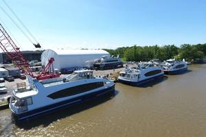NYC Ferries alongside at Metal Shark's Franklin Yard. CREDIT: Metal Shark