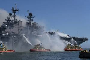 On the morning of July 12, a fire was called away aboard the USS Bonhomme Richard (LHD 6) while it was moored pierside at Naval Base San Diego while the warship was going through a maintenance availability, which began in 2018. (Photo: Christina Ross / U.S. Navy)