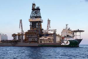"OSV ""THUNDER"" owned by Jackson Offshore serving floater ""DEEPWATER CONQUERER"" Source: Jackson Offshore"