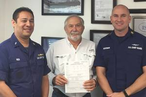 Pictured left to right: USCG Chief Warrant Officer Joel Reid; Marine Towing of Tampa ISM & Safety Coordinator, Capt. Scott Moorhead; and USCG Chief Warrant Officer Sean Goodman (Photo: Marine Towing of Tampa)
