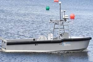 SRC's manned/umanned diesel serial electric hybrid workboat ASV completes factory acceptance testing . Image: SeaRobotics Corporation