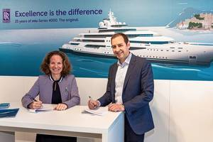 Rolls-Royce and Sea Machines Robotics are to collaborate on comprehensive remote command, autonomous control and intelligent crew support systems for the marine market. Denise Kurtulus, Vice President Global Marine at Rolls-Royce Power Systems, and Michael Johnson, CEO and founder of Sea Machines, signed the strategic cooperation agreement at Monaco Yacht Show. (Photo: Rolls-Royce)