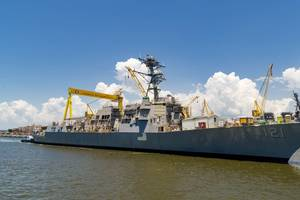 HII's Ingalls Shipbuilding division launched the Arleigh Burke-class destroyer Frank E. Petersen Jr. (DDG 121) on Friday. (Photo: HII)