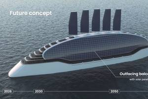 Sail, solar … and battery power: a frontrunning design for n fjord-going, zero-emissions cruise ship. CREDIT: NCE Maritime CleanTech