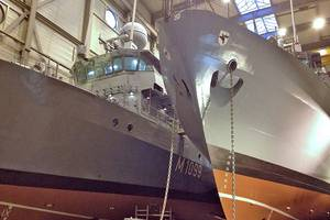 "Tamsen Shipyard, Rostock: Minehunting vessels  ""Herten"" and ""Homburg"" at Tamsen Shipyard."