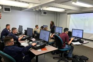 Texas A&M students training with Kongsberg DP simulation equipment. (CREDIT: TAMUG)