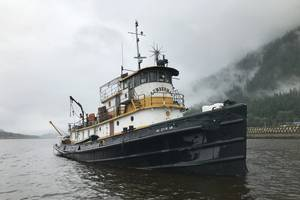 The abandoned tugboat Lumberman was scuttled off the coast of Alaska after it was determined to pose a significant public safety risk. (Photo: City and Borough of Juneau)