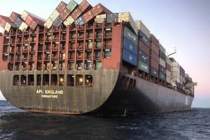 The APL England lost at least 50 containers in heavy seas off the coast of Australia in May 2020. (Photo: Australian Maritime Safety Authority)