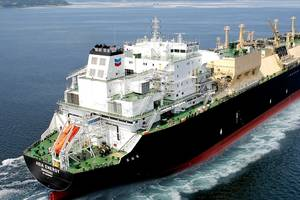 The Asia Energy, one of the new LNG carriers, during sea trials in South Korea. Photo: Chevron Corporation