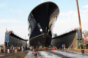 The megayacht Cakewalk, built at Derecktor Shipyards', Bridgeport, Ct., shipyard was launched using air bearings. Photo courtesy AeroGo, Inc.