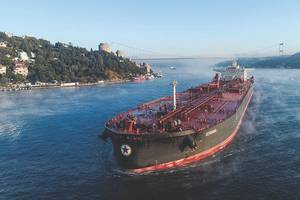 The MT Seriana on the Bosporus: severe corrosion problems were solved with Chevron's Special HT Ultra 140 BN cylinder oil. (Photo: Chevron)