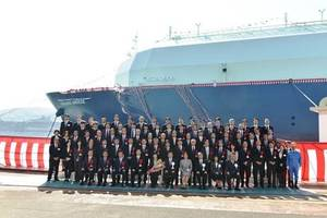 "The newbuild LNG carrier Oceanic Breeze was named during a ceremony at MHI's Nagasaki Shipyard. (Photo: ""K"" Line)"