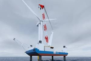 The SEA-3250-LT is a dedicated low CAPEX wind turbine installation solution for the emerging U.S. offshore wind market. (Image: GustoMSC)