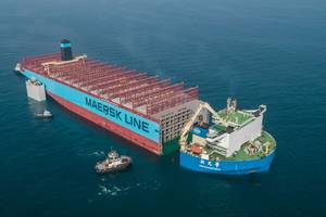 The sound part of the vessel Maersk Honam, which was hit by a serious fire last year, is being transported to Hyundai Heavy Industries Shipyard in South Korea, where it will be rebuilt.  Photo: Maersk