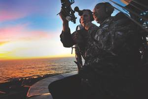 The U.S. Naval Academy at Annapolis in 2015 reinstituted a course of instruction in celestial navigation after abandoning it a number of years ago. Senior Chief Quarter Master Jonathan Myers teaches Command Master Chief April Beldo how to use a marine sextant during a demonstration of celestial navigation aboard the aircraft carrier USS Carl Vinson (CVN 70). (U.S. Navy photo by Travis K. Mendoza)