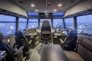 The view from the wheelhouse of Baltic Workboats pilot boat. Baltic Workboats has entered the US domestic boatbuilding game with this new entry. CREDIT: Baltic Workboats