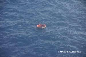 Three of Bourbon Rhode's 14 crew members were located in a lifeboat and rescued on Saturday. Resonders are searching for 11 that are still missing. (Photo: Marine Nationale)