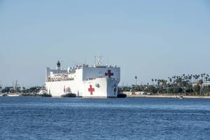 USNS Mercy (T-AH 19) arrives in Los Angeles March 27. (U.S. Navy photo by David Mora Jr.)