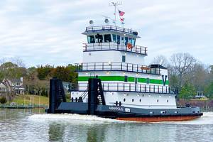 Vane Brothers' new, 3,000-horespower push tug, the Annapolis, moves along Maryland's Wicomico River. (Photo: Vane Brothers)